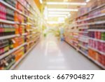 abstract supermarket aisle with ... | Shutterstock . vector #667904827