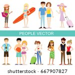 people on holiday  travellers... | Shutterstock .eps vector #667907827