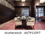 interior of hotel restaurant. | Shutterstock . vector #667911097