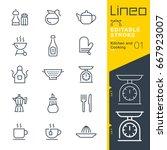 lineo editable stroke   kitchen ... | Shutterstock .eps vector #667923007