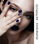 beautiful girl with art make up ... | Shutterstock . vector #667939153