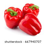 Paprika. Pepper Isolated. Red...