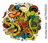 cartoon hand drawn doodles...   Shutterstock .eps vector #667945033
