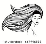 beautiful woman with long wavy... | Shutterstock .eps vector #667946593