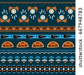 ethnic boho chic style seamless ... | Shutterstock .eps vector #667948783