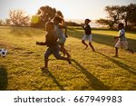 four elementary school kids... | Shutterstock . vector #667949983