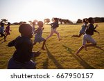 elementary school boys and... | Shutterstock . vector #667950157