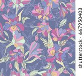 tropical seamless pattern with...   Shutterstock .eps vector #667950403