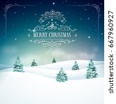 magic christmas background with ... | Shutterstock .eps vector #667960927