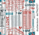 seamless pattern with london... | Shutterstock .eps vector #667962937