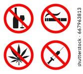sign forbidden smoking drugs... | Shutterstock .eps vector #667963813