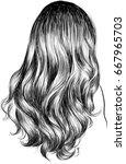curly hair fashion illustration | Shutterstock .eps vector #667965703
