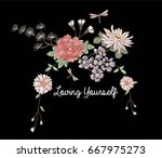 flowers embroidery | Shutterstock .eps vector #667975273
