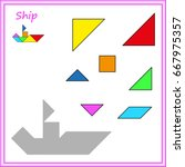 chinese puzzle tangram. cut and ... | Shutterstock .eps vector #667975357