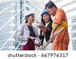 job assignments of engineers... | Shutterstock . vector #667976317