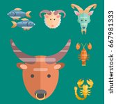 zodiac signs flat set of... | Shutterstock .eps vector #667981333