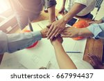 work group of gngineer  people... | Shutterstock . vector #667994437