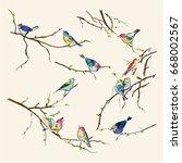 Stock vector watercolor birds vintage seamless texture of little birds 668002567