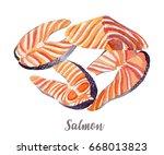 salmon illustration. hand drawn ... | Shutterstock . vector #668013823