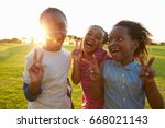 three african elementary... | Shutterstock . vector #668021143