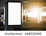 white empty signboard at airport | Shutterstock . vector #668023483