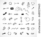 hand drawn arrows  vector set | Shutterstock .eps vector #668025463