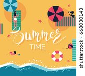 summer beach background. summer ... | Shutterstock .eps vector #668030143