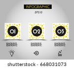three infographic squares with... | Shutterstock .eps vector #668031073