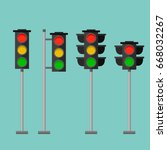 traffic lights safety stop sign ... | Shutterstock .eps vector #668032267
