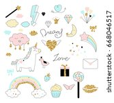 magic design set with unicorn ... | Shutterstock .eps vector #668046517