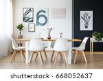 set of wooden table with white... | Shutterstock . vector #668052637