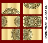 ornament round set with mandala.... | Shutterstock .eps vector #668055187