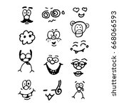 funny doodle faces set. the... | Shutterstock . vector #668066593