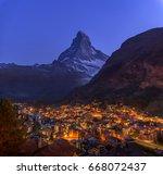 the matterhorn and zermatt city ... | Shutterstock . vector #668072437