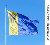porto velho's flag. blue and... | Shutterstock . vector #668075497