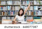 student asian girl study with... | Shutterstock . vector #668077387