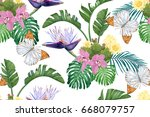 tropical leaves  cacti  flowers ... | Shutterstock .eps vector #668079757
