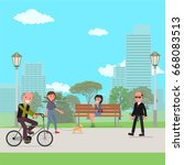 people walk in the park. vector ... | Shutterstock .eps vector #668083513