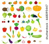 a set of fruits and vegetables. | Shutterstock .eps vector #668095447