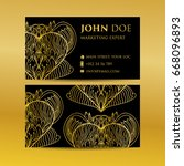 business card set golden...