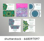 vector vintage business cards... | Shutterstock .eps vector #668097097