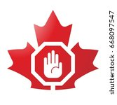 red maple leaf with hand sign... | Shutterstock .eps vector #668097547