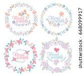 hand drawn vector floral wreath ... | Shutterstock .eps vector #668099917