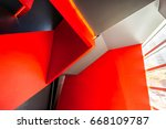 staircase painted in red.... | Shutterstock . vector #668109787