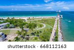 south pointe park. miami beach. ... | Shutterstock . vector #668112163
