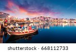 great spring seascape on aegean ... | Shutterstock . vector #668112733