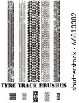 tyre track brushes - stock vector