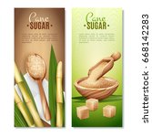 set of two cane sugar vertical... | Shutterstock .eps vector #668142283