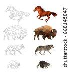 low poly vector animals set  ... | Shutterstock .eps vector #668145847
