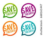 save the date round buttons.... | Shutterstock .eps vector #668161447
